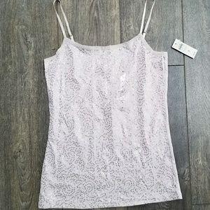 Ann Taylor Purple Blush Pastel Sequin Cami Yank